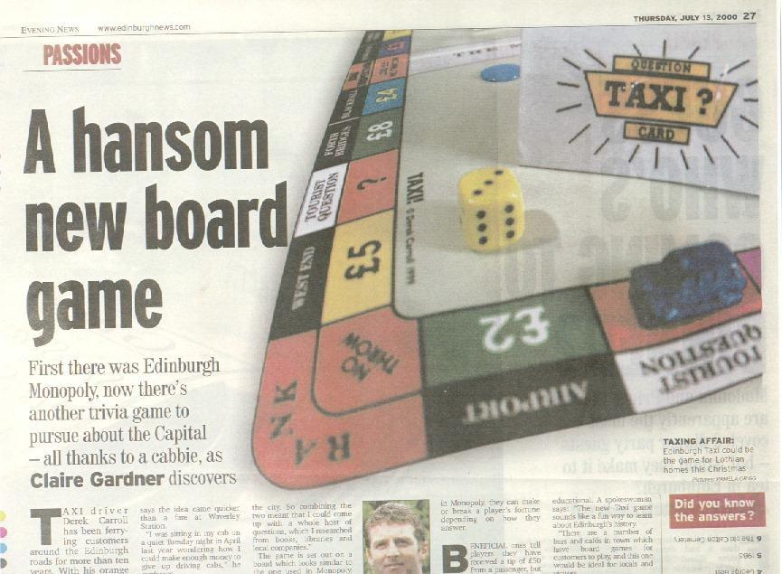 Taxi board game featured in the Evening news