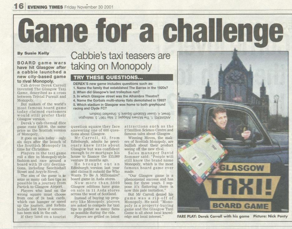 Taxi board game Glasgow takes on the big players